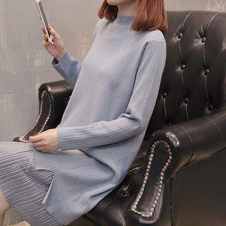 Long-sleeve Mock-neck Shift Knit Dress