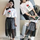 Set: Printed T-shirt Dress + Lace Skirt