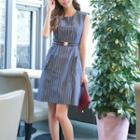 Sleeveless Pocket-accent Striped Dress