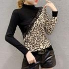 Mock-neck Long-sleeve Leopard Print Knit Top As Shown In Figure - One Size