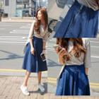 Flared Midi Denim Skirt