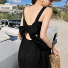 Bow Accent Back Sleeveless Midi Dress