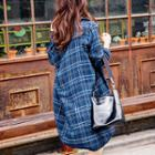 Double-breasted Plaid Long Jacket