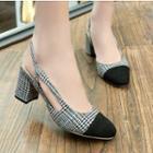 Plaid Block Heel Sandals