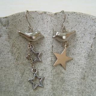Silver Birds Long Earrings Silver - One Size