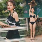 Set: Bikini + Contrast Trim Cold Shoulder Playsuit