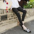 Elastic-waist Slit-knee Skinny Pants