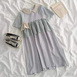 Short-sleeve Color Block Ruffle Trim Plaid Dress Blue - One Size