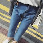 Washed Cropped Straight Leg Jeans