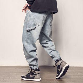 Pocket Detail Washed Jeans