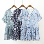 Floral Print Ruffle Trim Short Sleeve Chiffon Dress