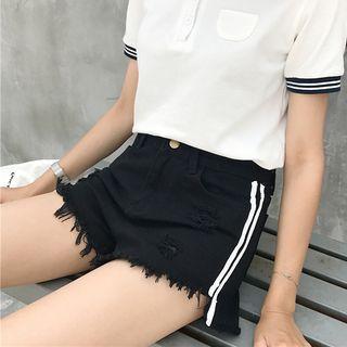 Striped Denim Shorts / Wide Leg Denim Shorts
