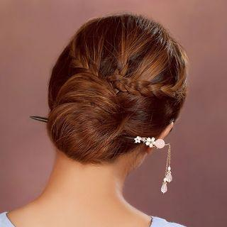 Retro Faux Pearl & Flower Hair Stick