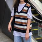 Striped V-neck Knit Vest Stripe - One Size