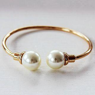 Faux Pearl Open Bangle