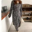 Long-sleeve Floral Midi A-line Dress Black - One Size