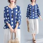 Dotted 3/4-sleeve T Shirt Blue Dotted - L