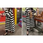 Striped Hooded Long Dress