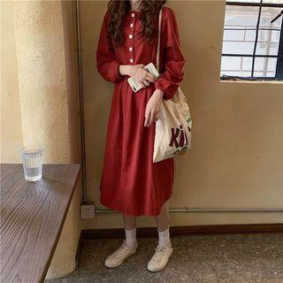 Long-sleeve Half-button Midi A-line Dress Red - One Size