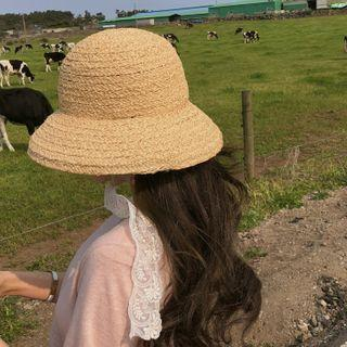 Lace-strap Straw Hat One Size