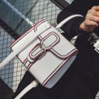 Contrast Trim Buckled Shoulder Bag