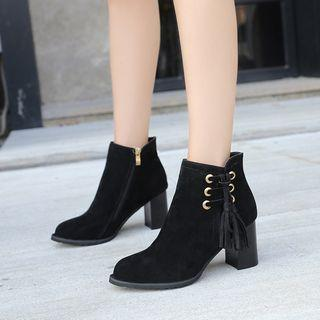 Tassel Detail Pointed Block Heel Ankle Boots