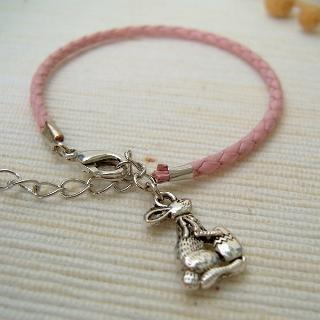 Pinky Bunny Leather Bracelet Silver - One Size