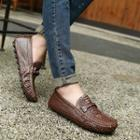 Genuine-leather Croc-grain Loafers
