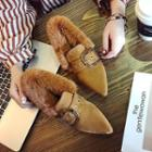 Furry Trim Buckled Flats