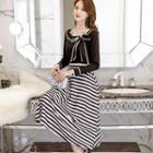 Set: Contrast Trim Long-sleeve Top + Striped Midi Skirt