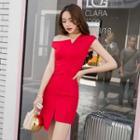Sleeveless Asymmetric Hem Mini Bodycon Dress