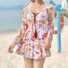 Set: Printed Long-sleeve Swimdress + Swim Shorts
