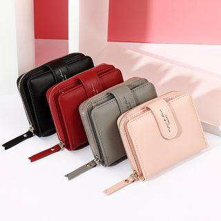 Faux Leather Zip Short Wallet