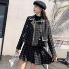 Set: Plaid Button Tweed Jacket + A-line Skirt