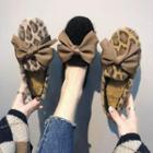 Bow-accent Leopard Print Fleece-lined Loafers