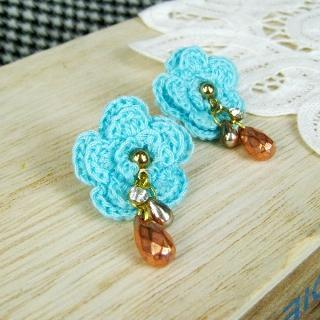 Blue Lace Flower Earrings