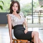 Striped Ruffle Sleeveless Sheath Dress