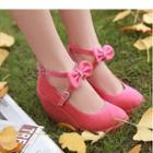 Bow Accent Cross Strap Wedge Pumps