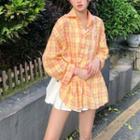 Long Sleeve Plaid Shirt Tangerine - One Size