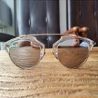 Mirrored Half-frame Round Sunglasses