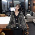 Contrast Trim Striped Cardigan / Sleeveless Plain Dress