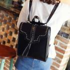 Studded Faux-leather Square Backpack