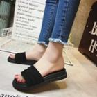 Platform Fringed Slide Sandals