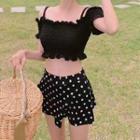 Set: Frilled Trim Bikini Top + Dotted Swim Skirt