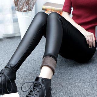Faux-leather Fleece-lining Skinny Pants