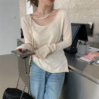 Long-sleeve Tie Neck Plain T-shirt As Shown In Figure - One Size