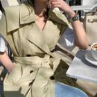 Sailor-collar Long Trench Vest Beige - One Size