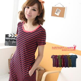 Short-sleeve Striped T-shirt Dress