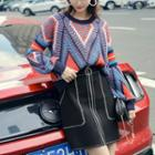 Patterned Sweater / Mini A-line Knit Skirt / Set