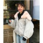 Faux-fur Panel Padded Bomber Jacket